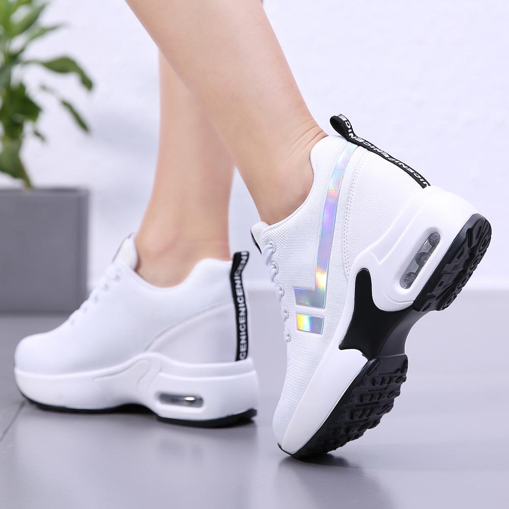 Spring High Heel Shoes Women Platform Sneakers Ladies Shoes Comfortable Outdoor Walking Solid Casual Shoes Basket Femme|Women's Vulcanize Shoes| - AliExpress