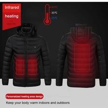 الشتاء الدافئة التنزه جاكيتات الرجال النساء منظم حراري ذكي مقنعين USB ساخنة الملابس مقاوم للماء سترة واقية الرجال الأسود سترات صوفية