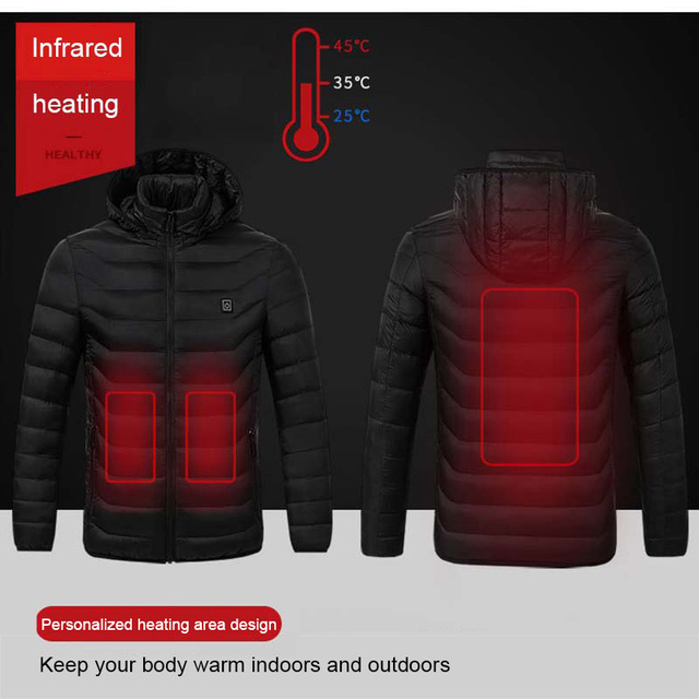 Winter Warm Hiking Jackets Men Women Smart Thermostat Hooded USB Heated Clothing Waterproof Windbreaker Men Black Fleece Jackets