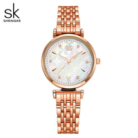 Shengke Women Quartz Watch Top Brand Luxury Japan Movement Stainless Steel Rose gold& Silver Waterproof Wristwatch with gift box