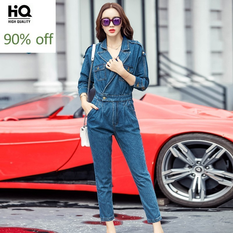 Elegant Fashion Notched Collar Three Quarter Sleeve Womens Denim Jumpsuits Spring Casual Slim Ankle Length Pants Female Overalls