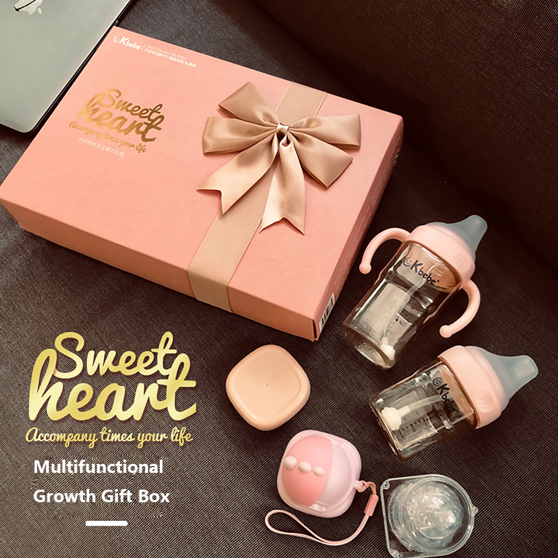 Bottle Gift Box Set Babies Gift Newborn Babies Bottle Anti-fall Multiple Water Cup Color Mixed Hair, Large Capacity And Handle
