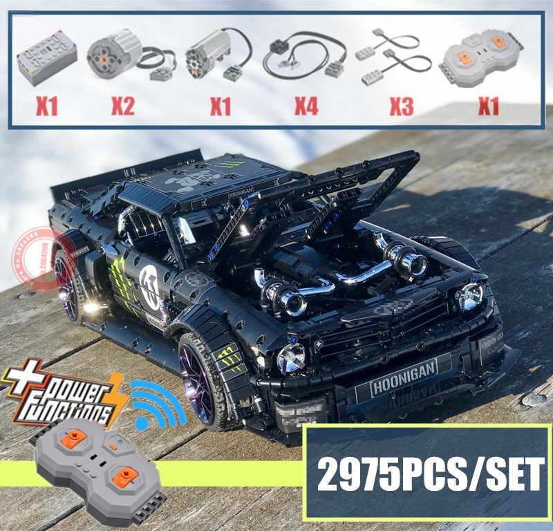Новый модернизированный двигатель с функцией питания 1965 Ford Mustang Hoonicorn, автомобиль, подходит для Legoings Technic, MOC-22970, строительные блоки, кирпичи, детские игрушки