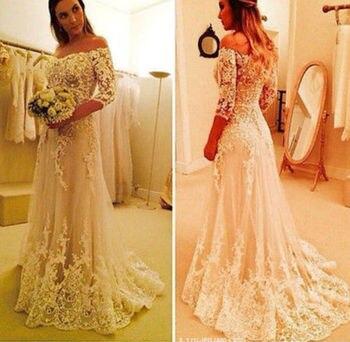 2018 Bateau Half Sleeve Sheer Back Sweep Train Off The Shoulder Lace Applique White Bridal Gown mother of the bride dresses lace applique lantern sleeve cold shoulder top
