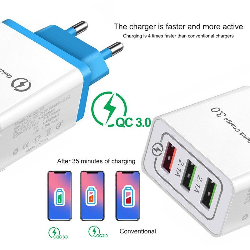 Зарядное устройство USB с 3-портовым разъемом для быстрой зарядки EU/US зарядное устройство для Samsung iPhone XiaoMi Huawei настенное Универсальное зарядн...