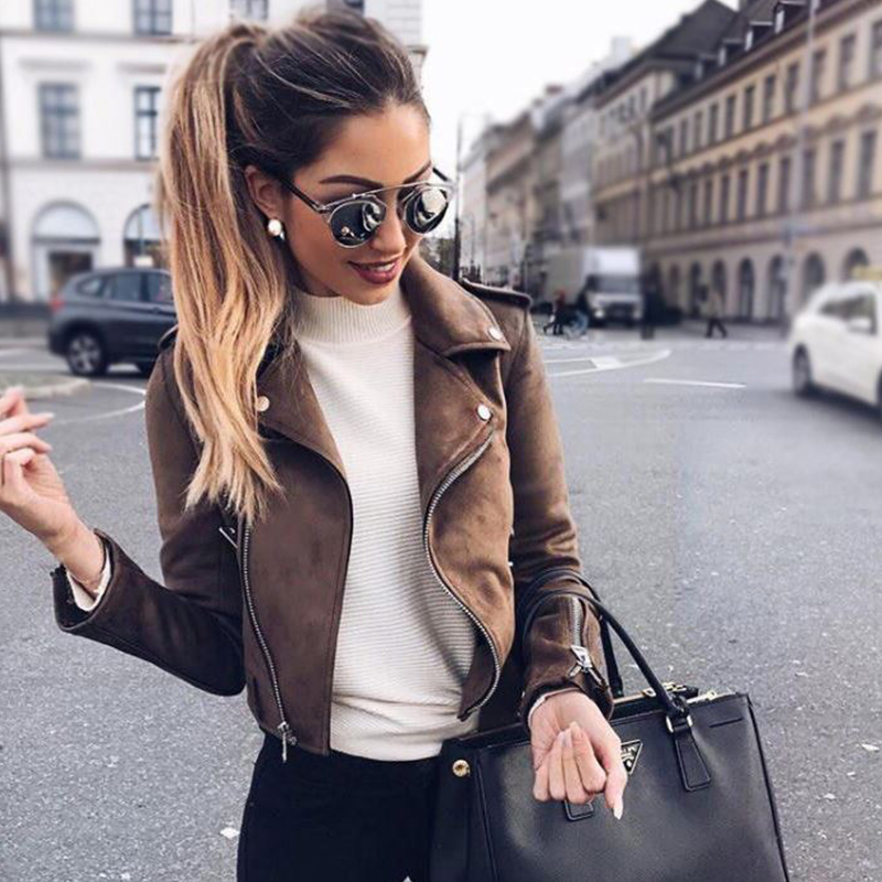 New Autumn Faux   Suede   Women Motorcycle Jacket Faux   Leather   Jacket Women Biker Jacket Slim White PU Coat
