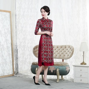 Image 4 - Quinceanera promoção joelho comprimento alta outono 2020 novo chinês nó de seda cheongsam moda melhorada retro aodai vestido mulher