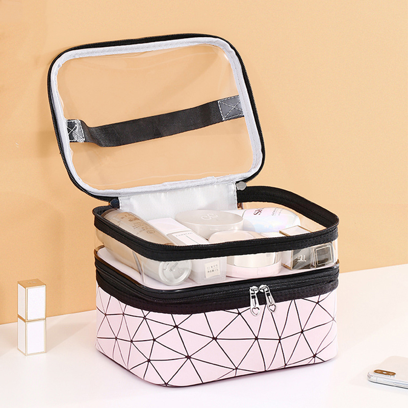 Multifunction Cosmetic Bag Case Waterproof And Transparent Makeup Bag Fashion Double Layer Diamond Makeup Bags Travel Organizer