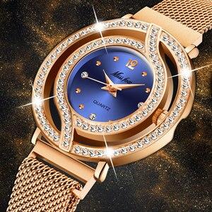 Image 1 - MISSFOX Magnetische Uhr Frauen Luxus Marke Wasserdicht Diamant Frauen Uhren Hohl Blau Quarz Elegante Gold Damen armbanduhr