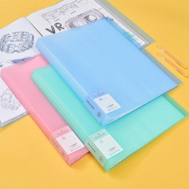 새로운 도착 40 60 페이지 a3 파일 폴더 그림 종이 주최자 보관 가방 문서 시트 프로텍터 도서 디스플레이 편지지