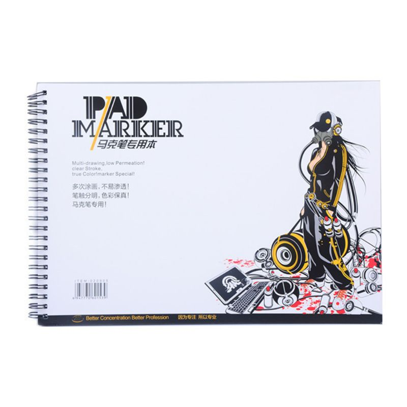 34 Sheet A3/A4/A5 Professional Marker Paper Spiral Sketch Notepad Book Painting H05A