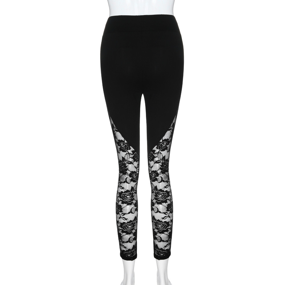 Sexy Women Lace Leggings Sexy Hollow Out Patchwork Skinny Pants Black Slim Leggings Damskie Lace Side Trousers Plus Size #LR4