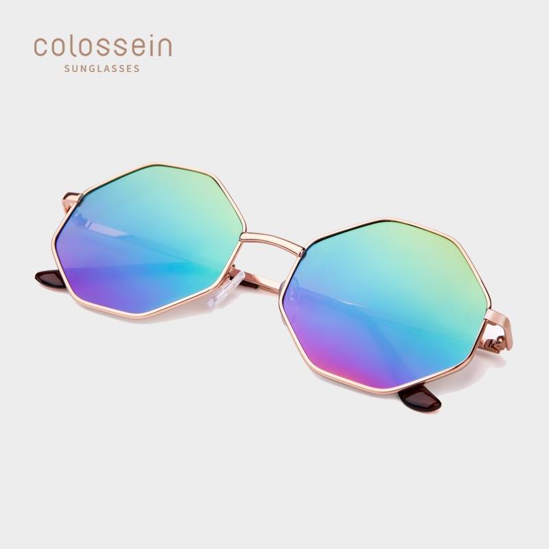 COLOSSEIN Sunglasses Women Vintage Mirror Sun Glasses Ladies Metal Octagon Frame Sunglasses Men Eyewear UV400 Iridescent Lens