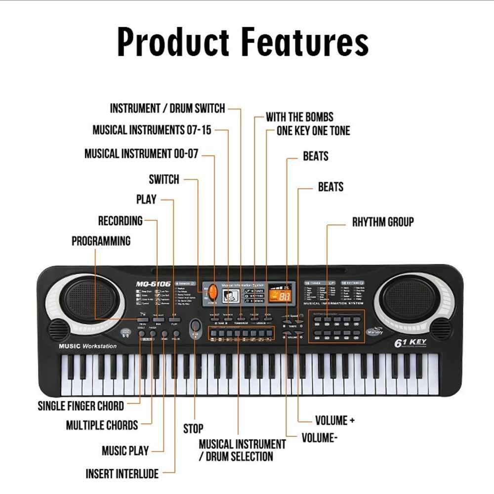 61 مفاتيح الأسود الموسيقى الرقمية لوحة المفاتيح الإلكترونية البيانو الاطفال هدية آلة موسيقية في وقت مبكر أداة تعليمية للطفل جديد وصول