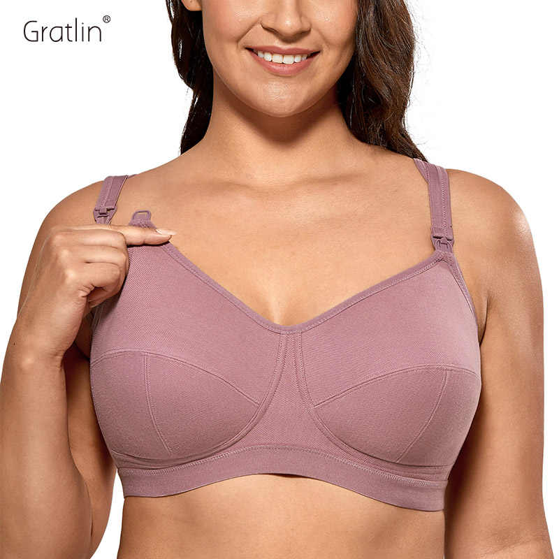 Gratlin Womens Softcup Supportive Plus Size Wirefree Cotton Maternity Nursing Bra