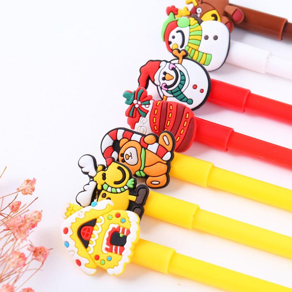 Christmas Black Neutral Pen Cartoon Snowman Bear Sock House Deer Gel Pen
