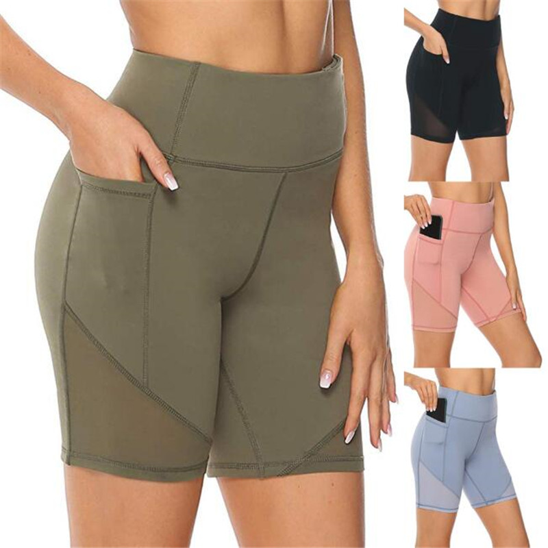 Women's High Waist Pocket Leggings Yoga Training Short Abdomen Control Breathable Training Running Yoga Ladies Solid Tight