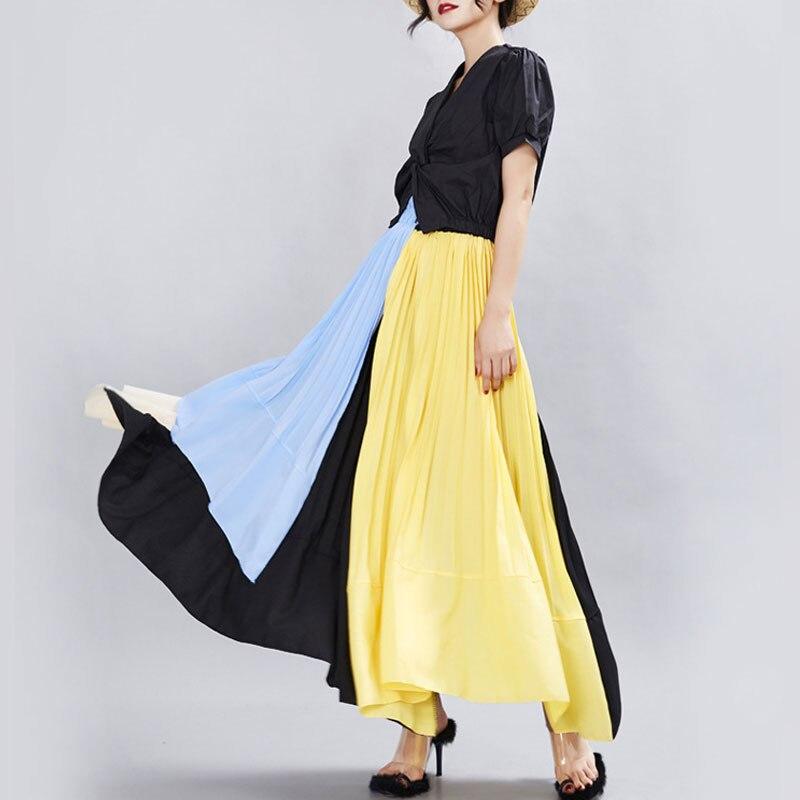 2020 New Women Skirts High Waist Irregular Skirt A-Line Pleated Skirts Patchwork Long Skirts Women Jupe Faldas Saias Streetwear