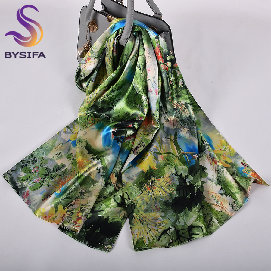 [BYSIFA]  Green Blue Ladies Satin Long Silk Scarf Shawl New Fashion Brand Scarves Printed Spring Fall Female Head Scarf 160*70cm