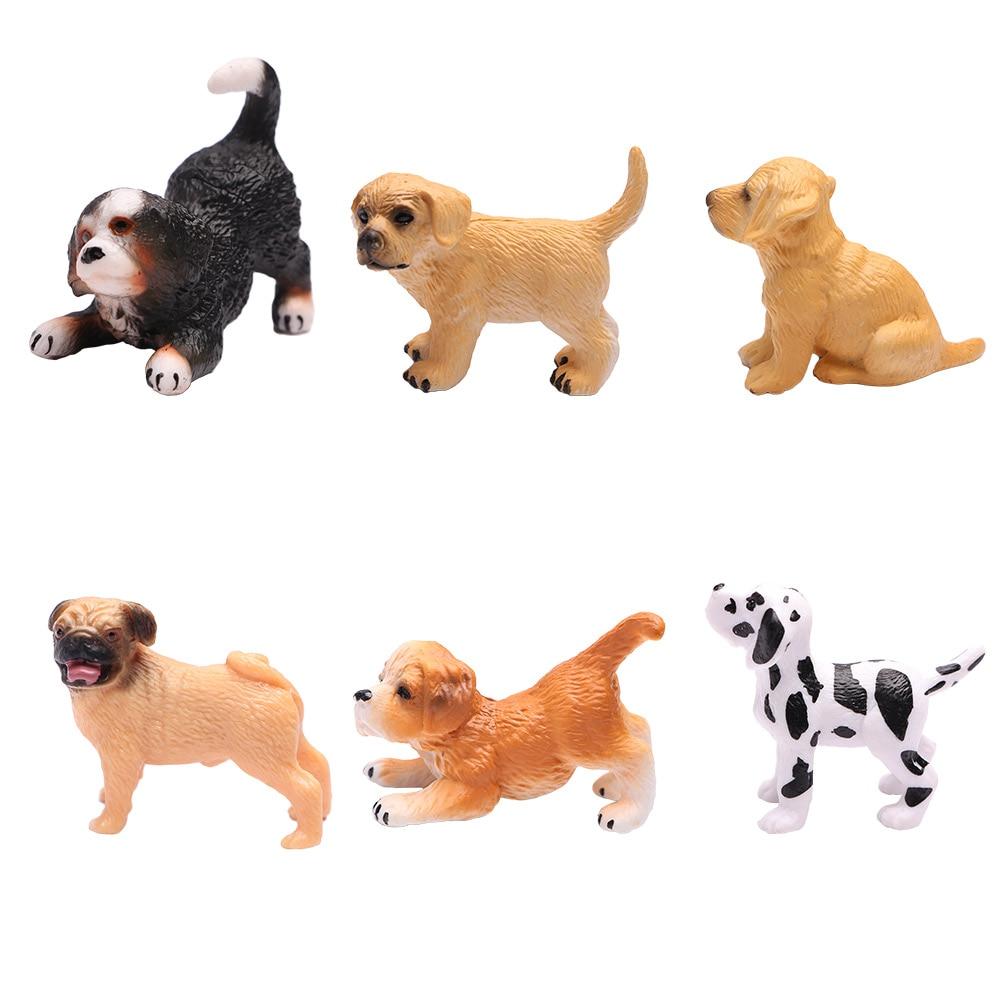 Simulation Mini Dog Miniature Figurine Animal Model Toys Children Gift Fairy Garden Decoration Accessories