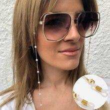Цепочка для очков с белыми пластиковыми бусинами и жемчугом, Очаровательная металлическая цепочка, Силиконовые петли, аксессуары для солнц...