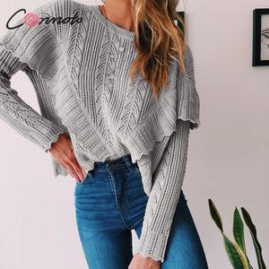 Image 3 - Conmoto 여성 가을 겨울 니트 스웨터 패션 홀드 아웃 크로 셰 뜨개질 풀오버 2019 여성 프릴 긴 소매 점퍼 탑스
