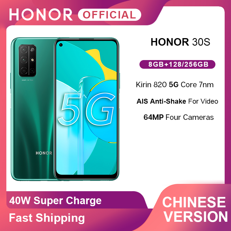 Новое прибытие Honor 30 S 30 S 5G смартфон Kirin 820 6,5 ''64MP четыре AI камеры Лицо ID Android10 мобильный телефон 40W SuperCharge