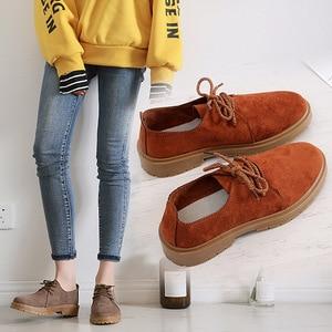 Image 1 - 2020 סתיו חדש נעלי נשים שטוח מרטין מגפי נעליים יומיומיות אישה האופנה אוקספורד רטרו אלגנטי שרוכים החלקה