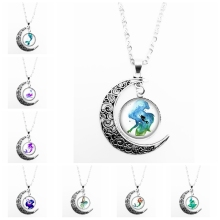 2019 New Best Selling Handmade Oil Painting Mermaid Pattern Series Glass Cabochon Pendant Moon Necklace Girl Jewelry Gift a spool of blue thread