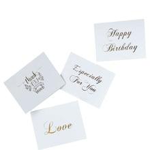 40 unids/lote Mini tarjeta de agradecimiento de oro diseño simple Scrapbooking invitación tarjeta de felicitación de cumpleaños Mensaje de tarjetas de regalo