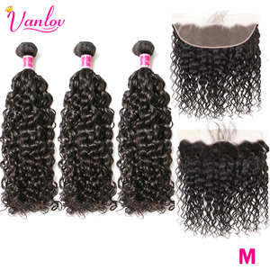 Vanlov Indian Water Wave Bundles With Frontal Closure 100% Human Hair Bundles With Frontal Remy Middle Lace Frontal With Bundles