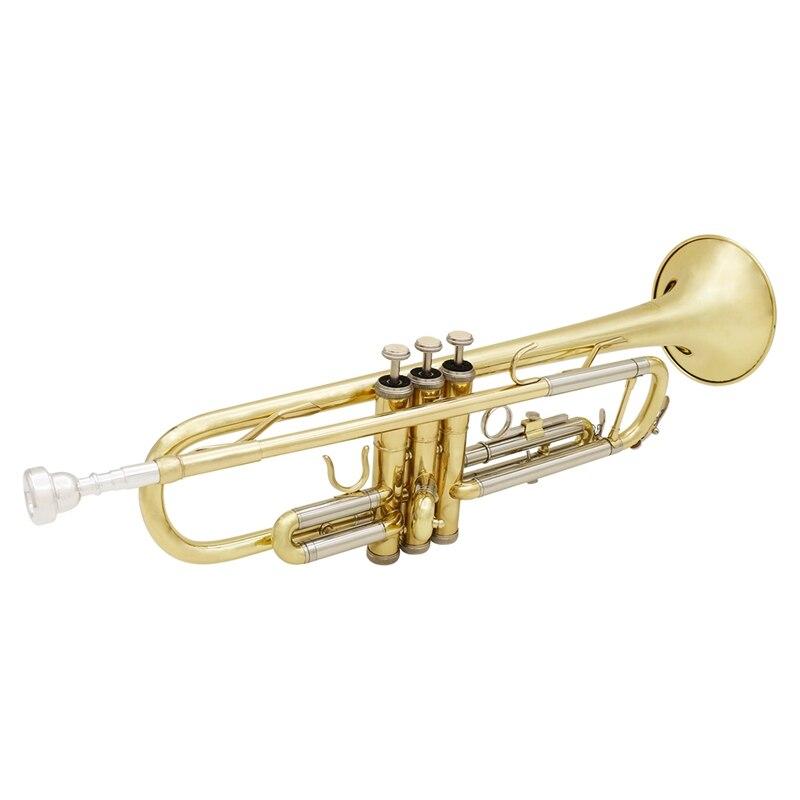 Slade trompette Bb B plat Durable en laiton trompette débutant Instrument de musique avec embouchure gants et exquis Gig Bag - 4