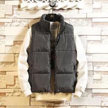 Striped полосатая мужская куртка без рукавов Homme Зимняя Повседневная Мужская Утепленная жилетка с хлопковой подкладкой мужской жилет из искусственного меха XXXL