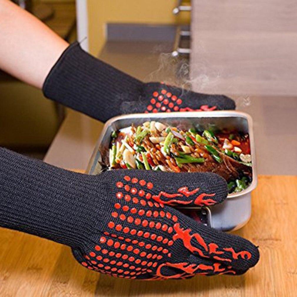 Yüksek sıcaklık Anti skid aşınmaya dayanıklı pamuk eldivenler barbekü mikrodalga fırın title=