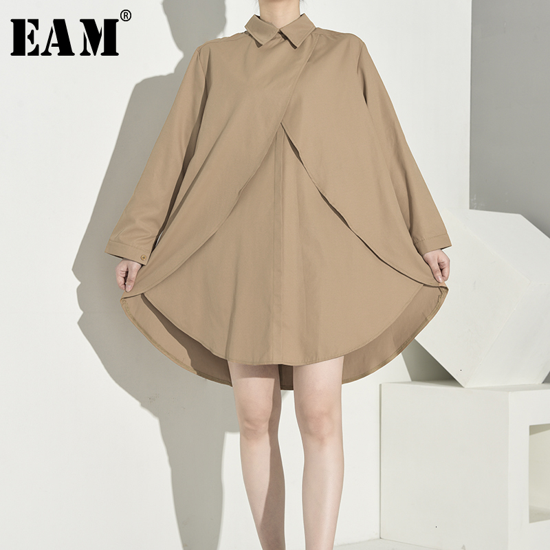 [EAM] Women Khaki Split Asymmetrical Long Blouse New Lapel Long Sleeve Loose Fit Shirt Fashion Tide Spring Autumn 2019 1B7220