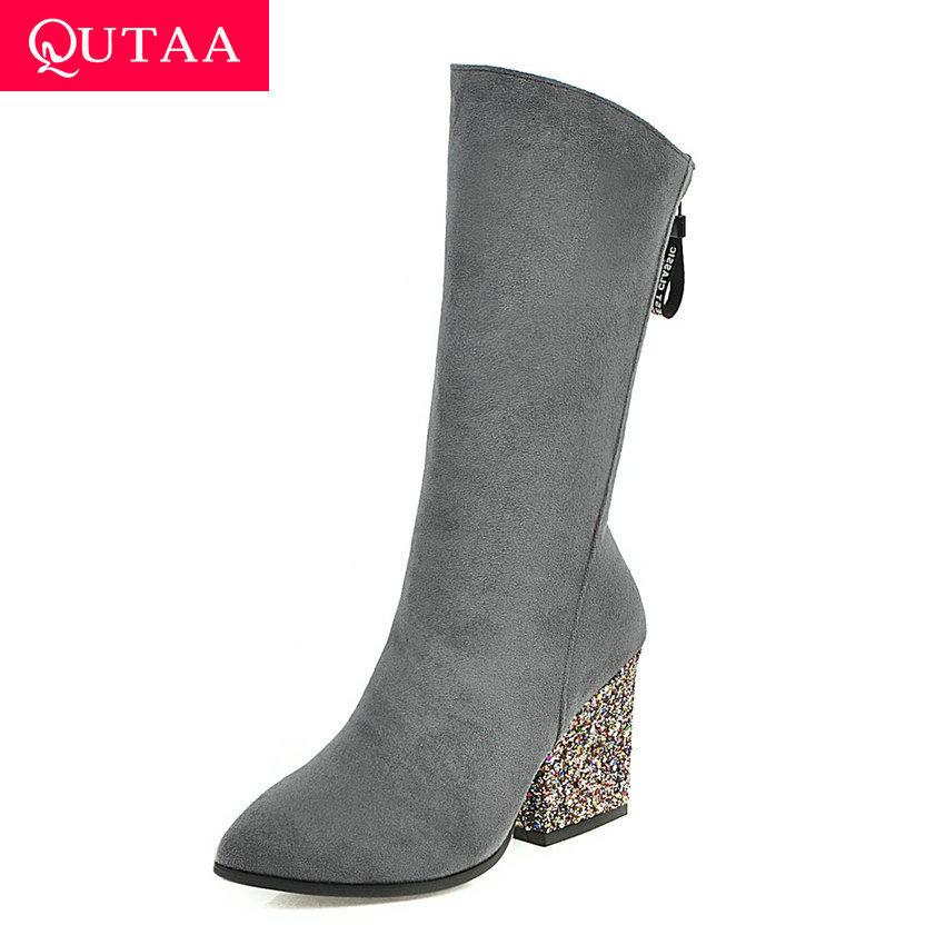 QUTAA 2020 Sexy Pointed Toe Zipper Elegant Mid Calf Boots Flock Fashion Square High Heel Autumn Winter Women Shoes Big Size34-43