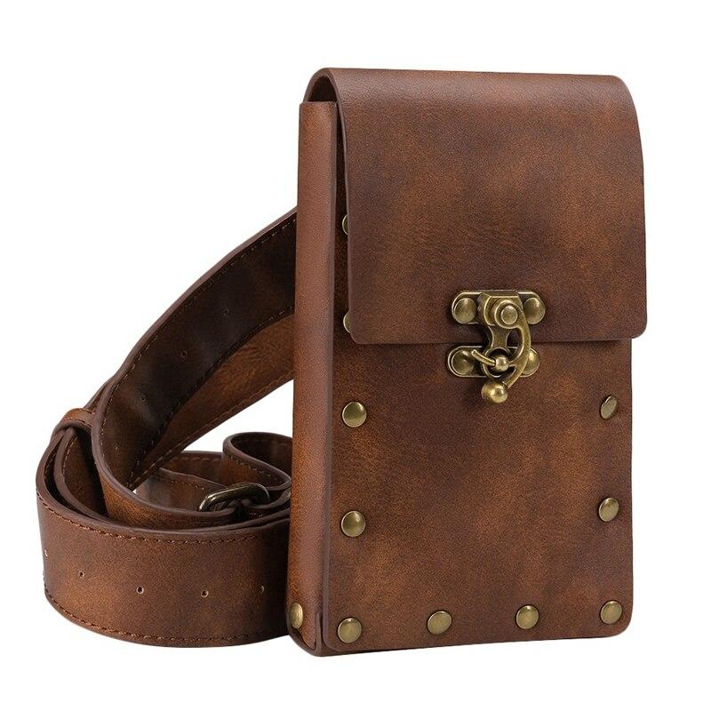 Medieval Renaissance Adult Male Knight Leather Vintage Pocket Belt Clothing Bag