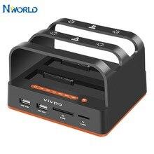 Nworld base de disco rígido idesata caso de disco rígido móvel usb leitor de cartão externo dupla unidade de disco rígido docking station