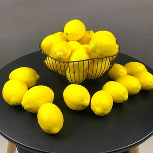 1-12pcs Artificial Yellow Lemon Realistic Simulation Lemon Fake Lemons Faux PVC Lemons Fruits for Photography Prop Decoration