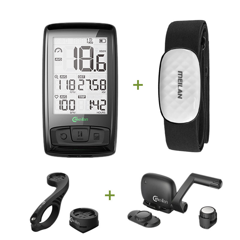 Meilan Bluetooth ANT+ Bicycle computer Bike Speedometer Tachometer Cadence + Speed Sensor Weather can Receiving heart rate
