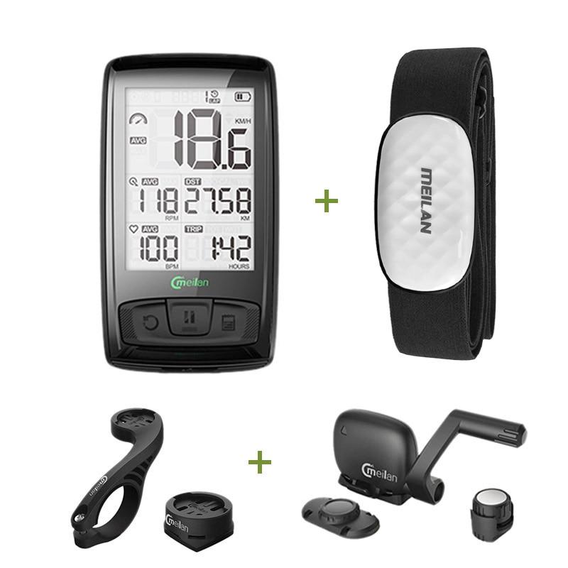 Velocímetro de bicicleta Meilan Bluetooth ANT + velocímetro de bicicleta tacómetro cadencia + Sensor de velocidad puede recibir ritmo cardíaco
