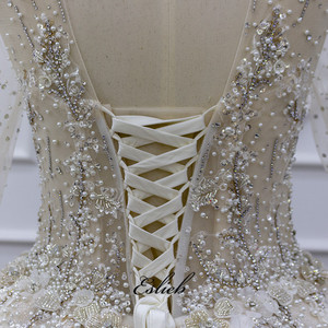 Image 5 - Eslieb Ball Gown Dress Rhinstone Beadings Pearl Crystals Champagne Lace Lace Up Back Custom Made Full Sleeves
