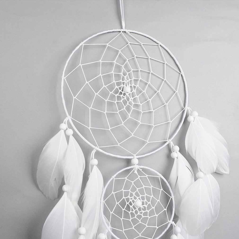 Grande círculo branco segundo anel apanhador de sonhos pena pingente artesanal dreamcatcher circular net para o carro