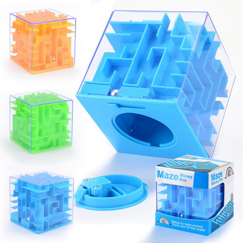 Hot 3D Maze Puzzle Saving Box Six Sided Clear Piggy Bank Coin Cash Storage Holder Boxes Intelligent Decompression Toy Gift