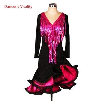 Latin dance costume senior sexy tassel sleeveless latin dance dress for women latin dance competition dresses S-4XL
