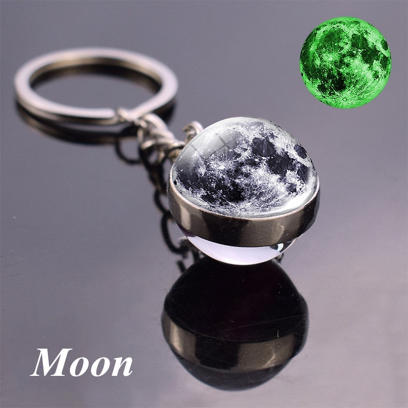 Glow In The Dark Full Moon Keychain Nebula Pendant Solar System Glass Cabochon Luminous Keychain Galaxy Space Astronomy Planet
