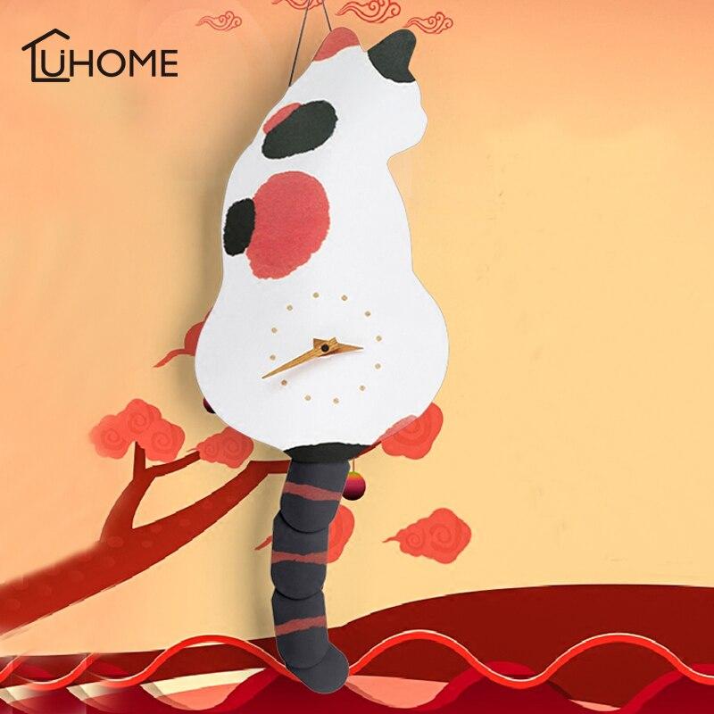 Horloge murale créative vilain chat Wag queue vif bricolage salon maison décoration murale mode montres enfants cadeau drôle chat jouets