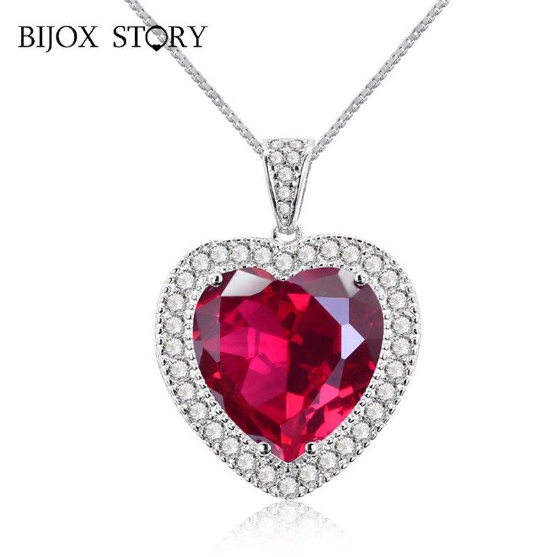 Женское Ожерелье BIJOX STORY из стерлингового серебра 925 пробы с кулоном в форме сердца из рубина и циркония, Свадебные вечерние украшения