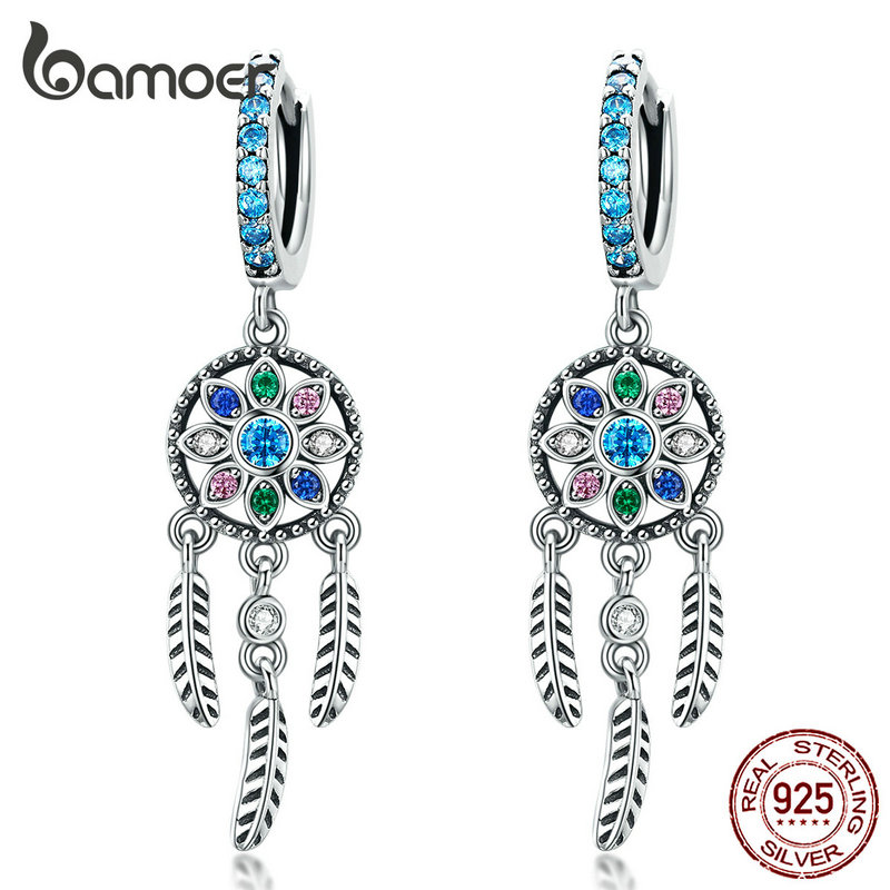 Bamoer Bohemia Dream Catcher Hanging Drop Earrings For Women Boho Style 925 Sterling Silver Fashion Jewelry Gifts SCE713