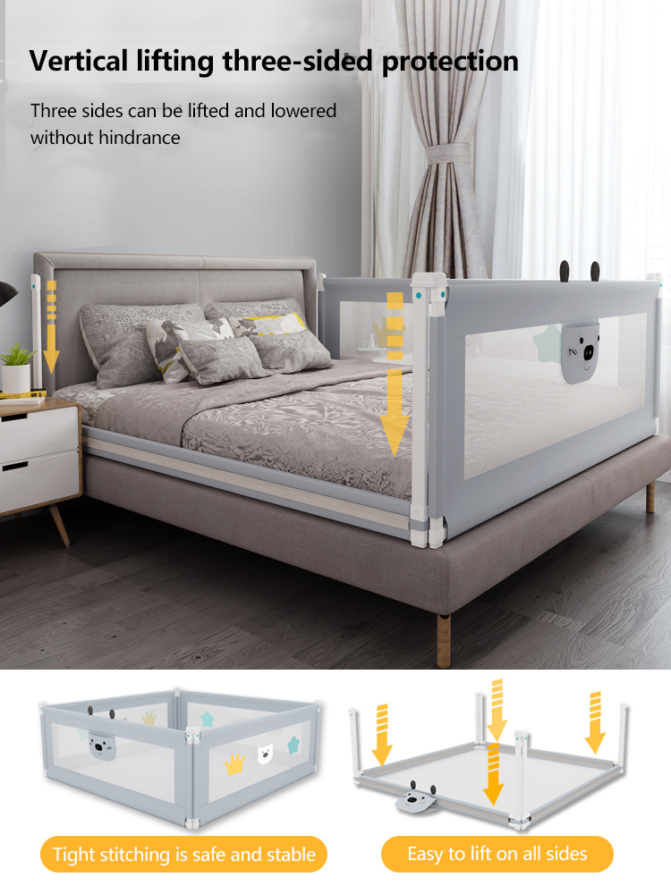 Children's anti-drop bed guardrail lift baby shatter-resistant fence children's baffle bed fence universal 3pcs